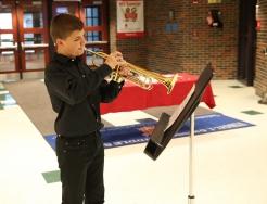 Grissom music student at 2020 Veteran's Day Program