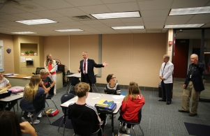 Supt. Dr. Thacker visits Mrs. Grosnickle's classroom with Board Members Jim Garrett and Larry Beehler