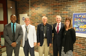 Board Members Larry Beehler, Jim Garrett, Supt. Dr. Thacker and Principal Milfort during 1st Day of School Visits (8/23/17)
