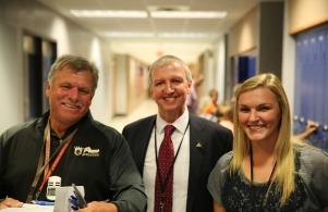 Coach Kominkiewicz, Supt. Dr. Thacker and Ms. Laura Mason