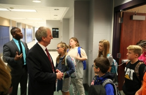 Dr. Thacker talks to students during 1st Day of School Visits (8/23/17)